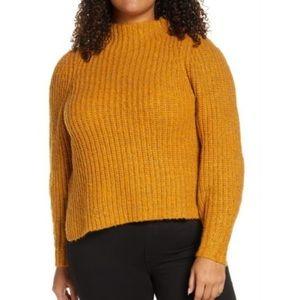 Leith Womens Plus Orange Inca Mock Sweater